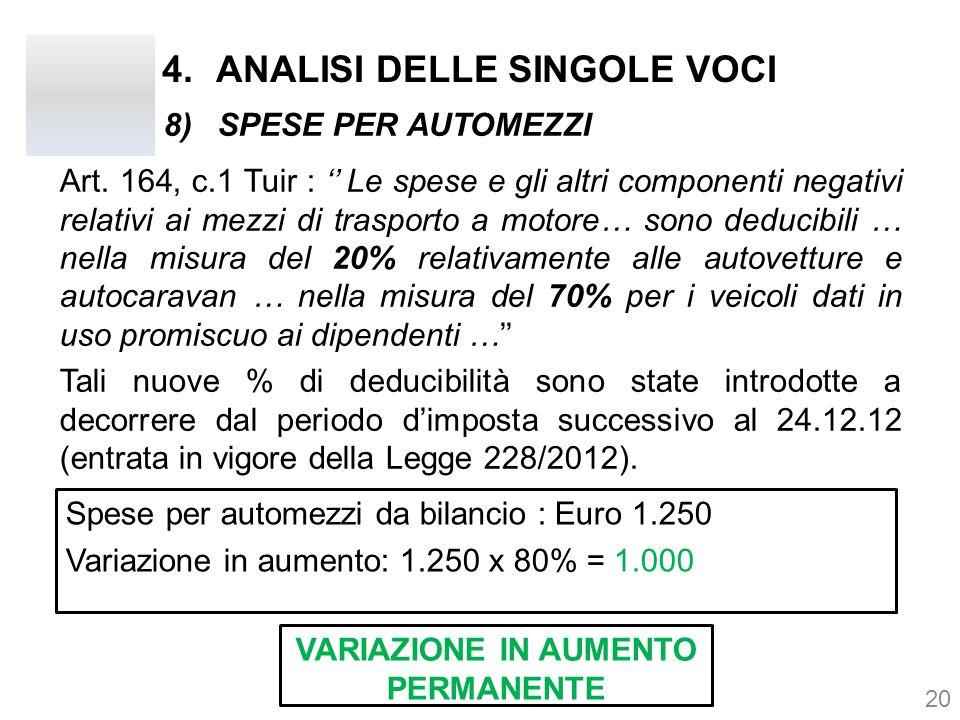 4.ANALISI DELLE SINGOLE VOCI Art. 164, c.1 Tuir : '' Le spese e gli altri componenti negativi relativi ai mezzi di trasporto a motore… sono deducibili