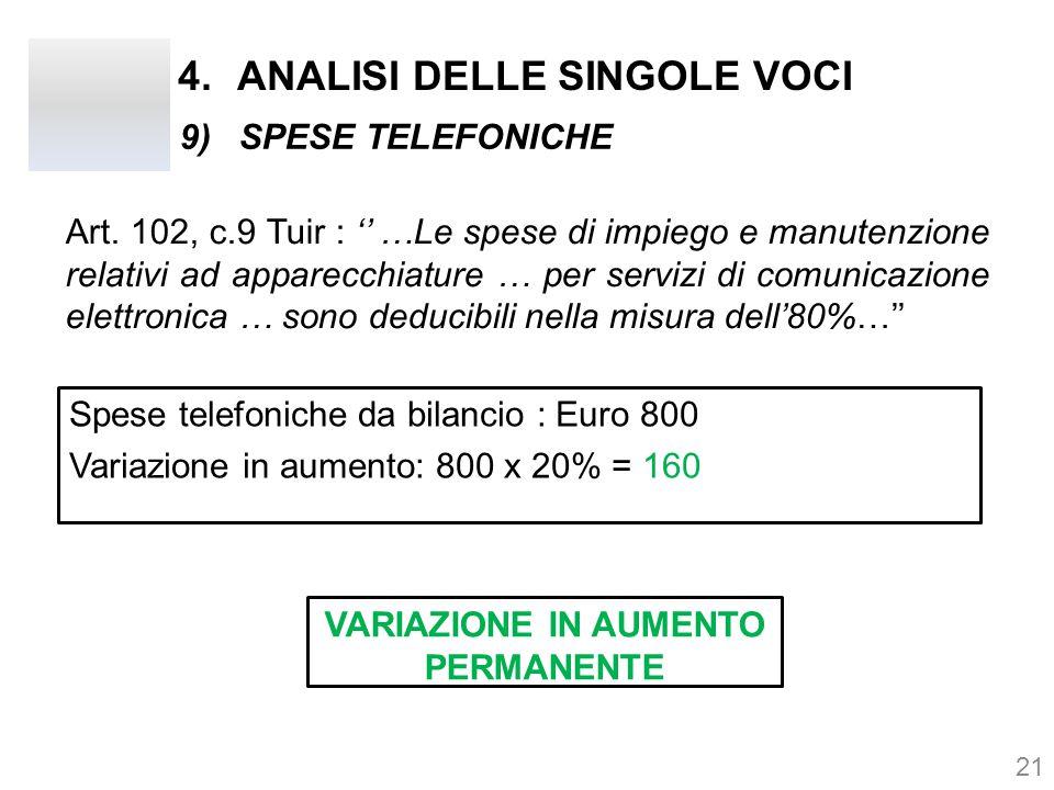 4.ANALISI DELLE SINGOLE VOCI 21 9)SPESE TELEFONICHE Art. 102, c.9 Tuir : '' …Le spese di impiego e manutenzione relativi ad apparecchiature … per serv
