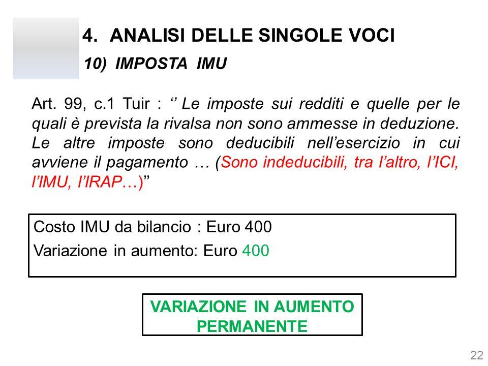 4.ANALISI DELLE SINGOLE VOCI Art. 99, c.1 Tuir : '' Le imposte sui redditi e quelle per le quali è prevista la rivalsa non sono ammesse in deduzione.