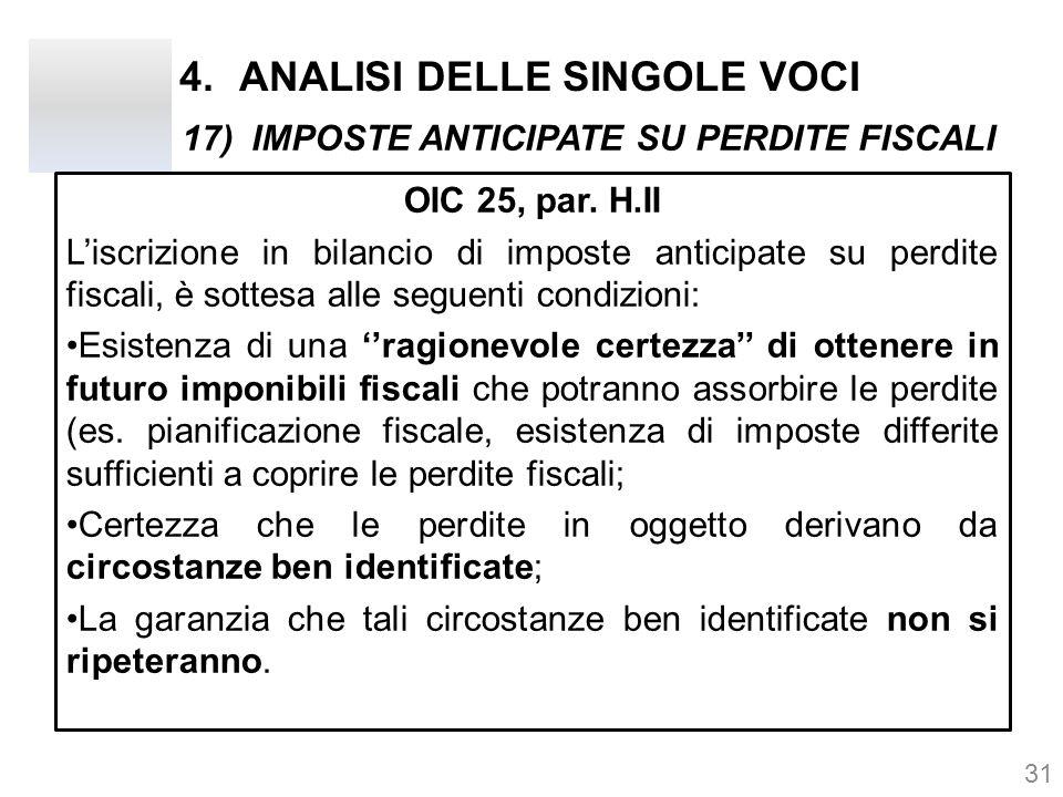 4.ANALISI DELLE SINGOLE VOCI OIC 25, par. H.II L'iscrizione in bilancio di imposte anticipate su perdite fiscali, è sottesa alle seguenti condizioni: