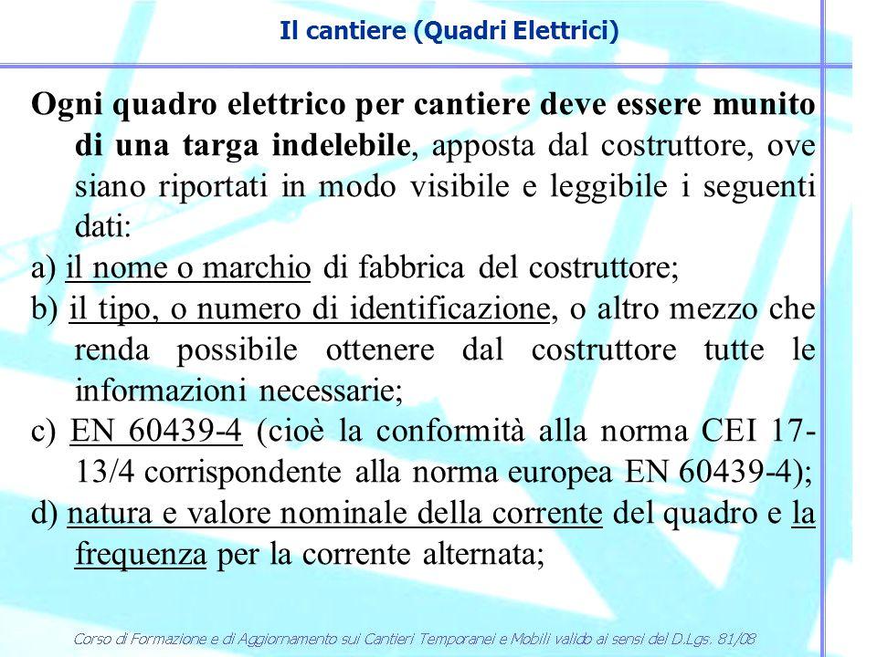 Il cantiere (Quadri Elettrici) I quadri installati nei locali di servizio del cantiere (baracche, mense, dormitori, ecc.) possono non essere ASC.