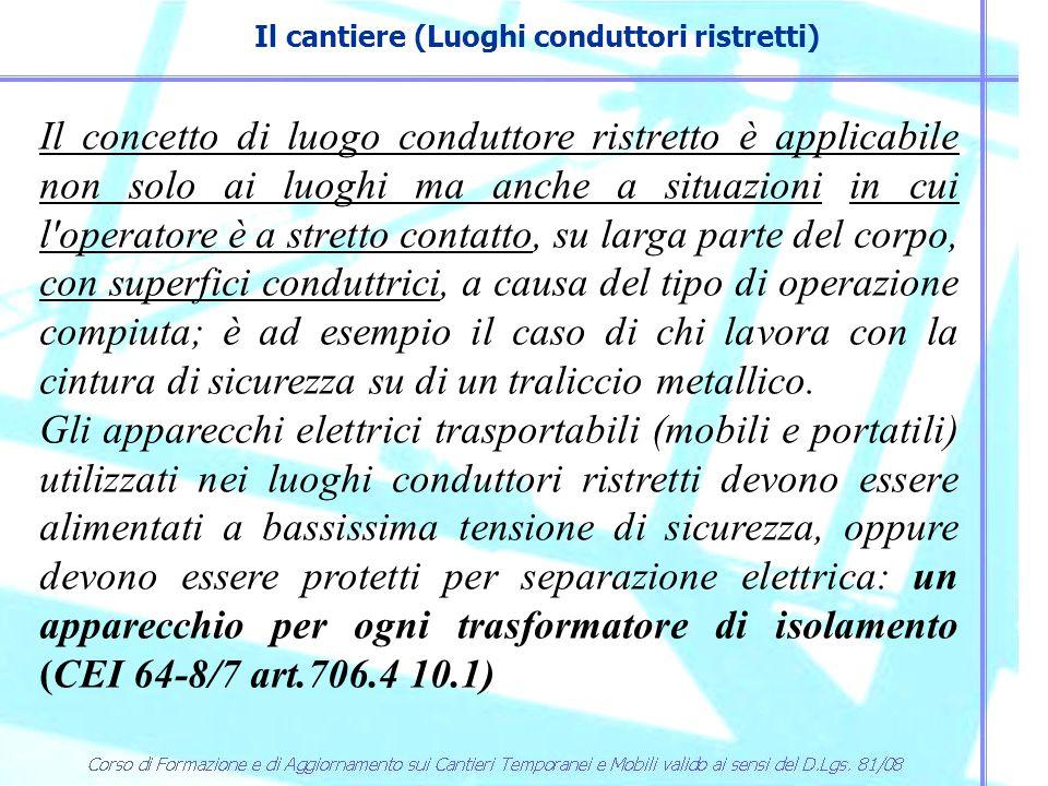 Il cantiere (Luoghi conduttori ristretti) Il concetto di luogo conduttore ristretto è applicabile non solo ai luoghi ma anche a situazioni in cui l'op