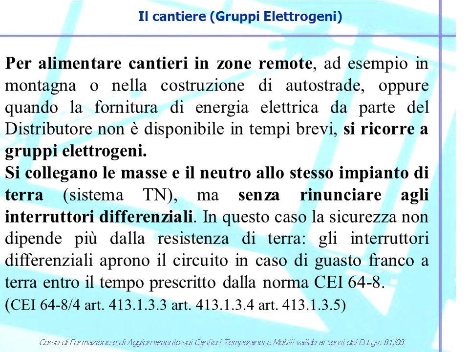 Il cantiere (Gruppi Elettrogeni) Per alimentare cantieri in zone remote, ad esempio in montagna o nella costruzione di autostrade, oppure quando la fo