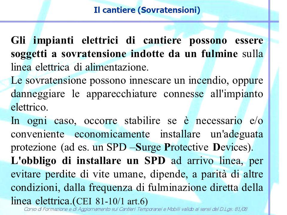 Il cantiere (Sovratensioni) Per stabilire se è obbligatorio installare un SPD ad arrivo linea occorre valutare il rischio secondo la norma CEI 81-10/2.