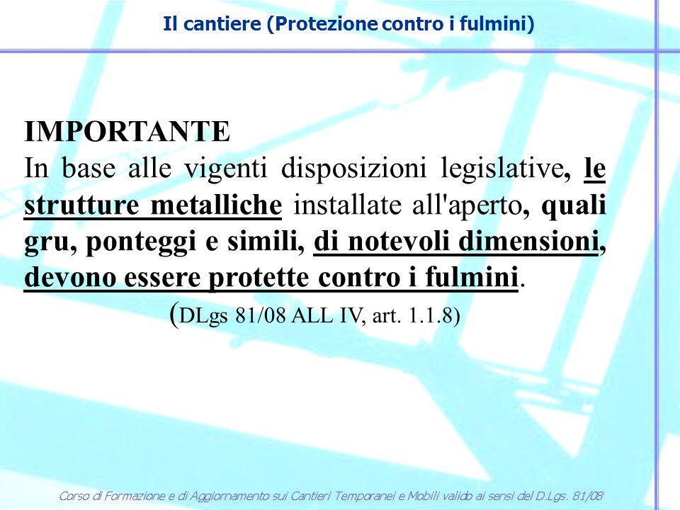 Il cantiere (Protezione contro i fulmini) IMPORTANTE In base alle vigenti disposizioni legislative, le strutture metalliche installate all'aperto, qua