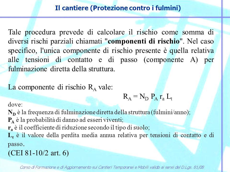 Il cantiere (Protezione contro i fulmini) La frequenza di fulminazione N D dipende dall ubicazione della struttura secondo il coefficiente di posizione C d, dal valore di fulmini a terra all anno e al kilometro quadrato (N t ) e dalla geometria della struttura, è quindi diversa per i ponteggi e le gru.