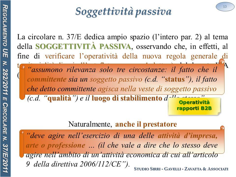Soggettività passiva 13 SOGGETTIVITÀ PASSIVA La circolare n. 37/E dedica ampio spazio (l'intero par. 2) al tema della SOGGETTIVITÀ PASSIVA, osservando