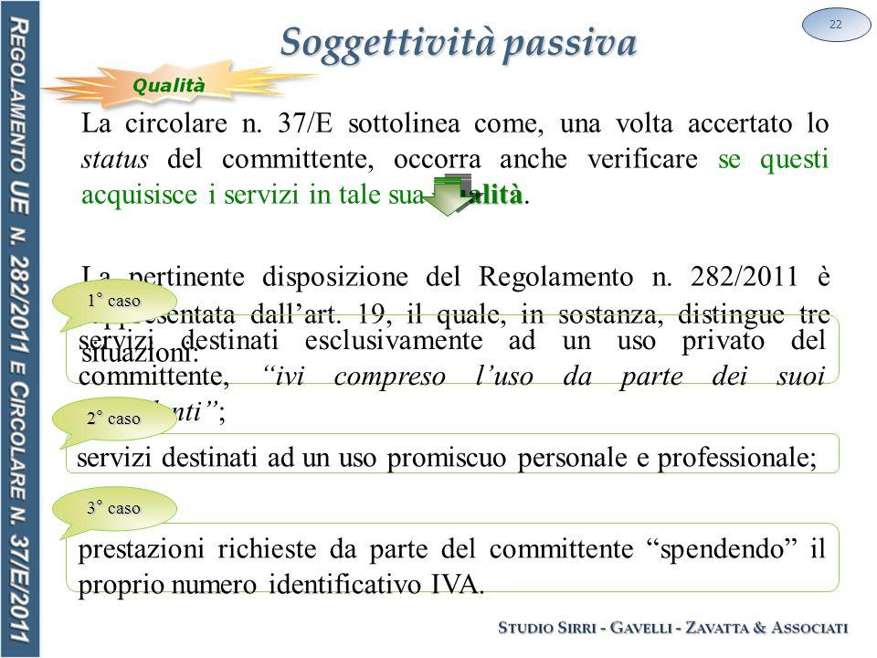 Soggettività passiva 22 qualità La circolare n. 37/E sottolinea come, una volta accertato lo status del committente, occorra anche verificare se quest