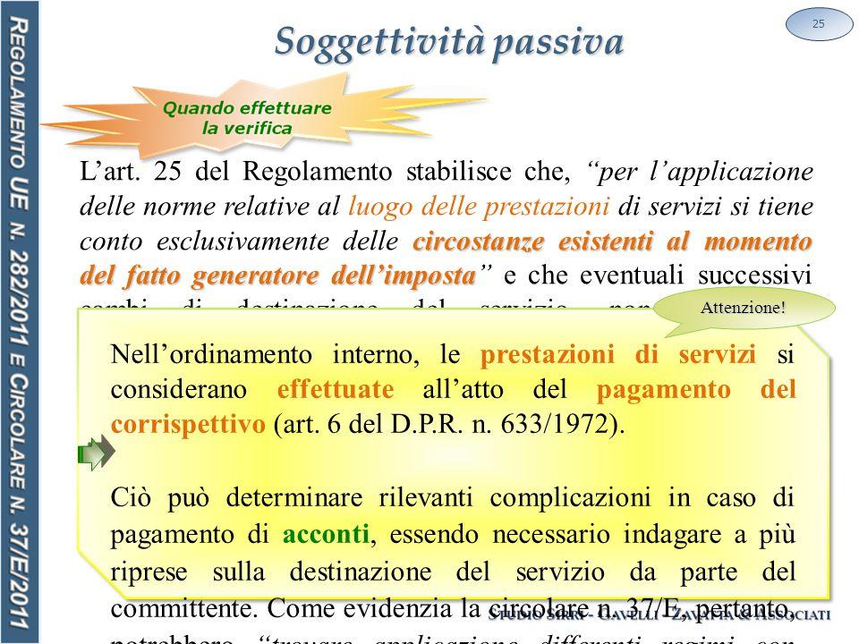 Soggettività passiva 25 circostanze esistenti al momento del fatto generatore dell'imposta L'art.