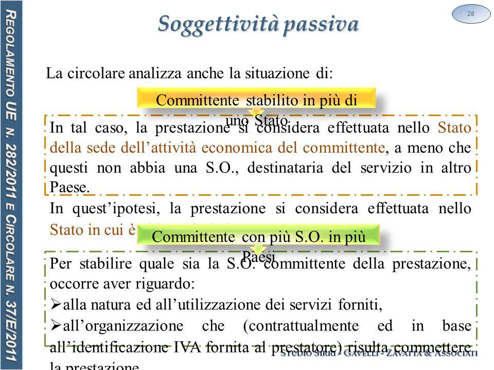 Soggettività passiva 28 La circolare analizza anche la situazione di: In tal caso, la prestazione si considera effettuata nello Stato della sede dell'attività economica del committente, a meno che questi non abbia una S.O., destinataria del servizio in altro Paese.