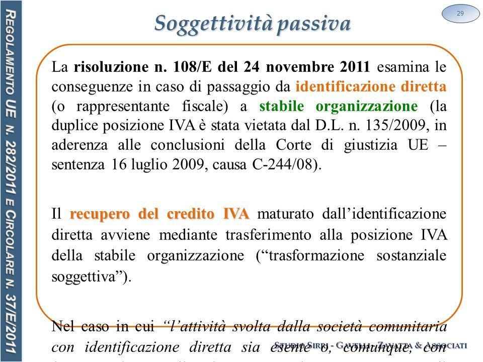 Soggettività passiva 29 La risoluzione n.
