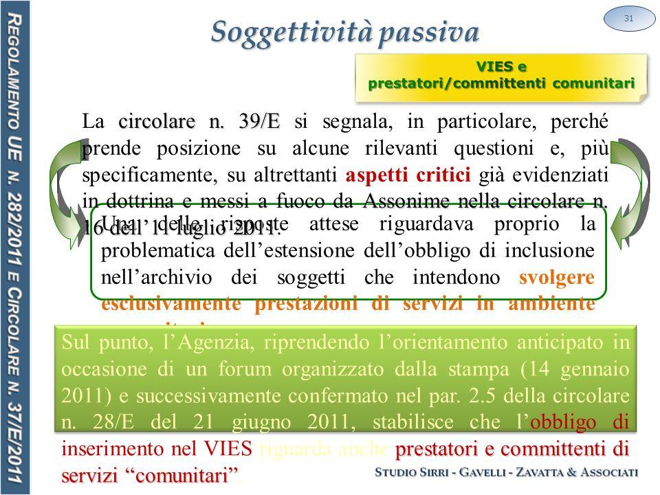 Soggettività passiva 31 Una delle risposte attese riguardava proprio la problematica dell'estensione dell'obbligo di inclusione nell'archivio dei soggetti che intendono svolgere esclusivamente prestazioni di servizi in ambiente comunitario.