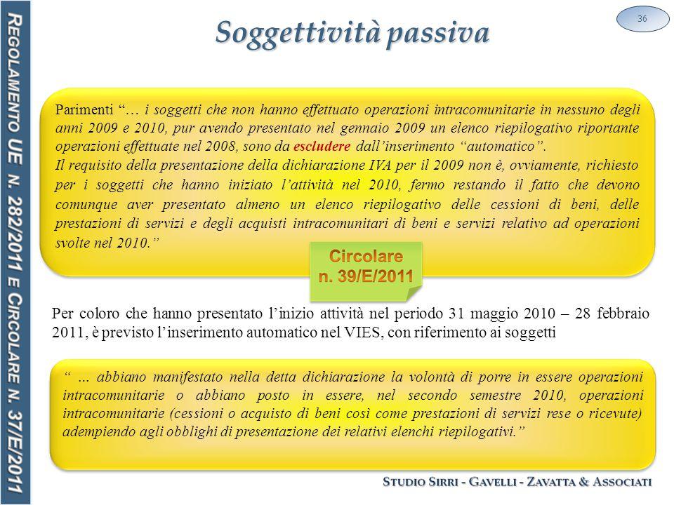 Soggettività passiva 36 Parimenti … i soggetti che non hanno effettuato operazioni intracomunitarie in nessuno degli anni 2009 e 2010, pur avendo presentato nel gennaio 2009 un elenco riepilogativo riportante operazioni effettuate nel 2008, sono da escludere dall'inserimento automatico .