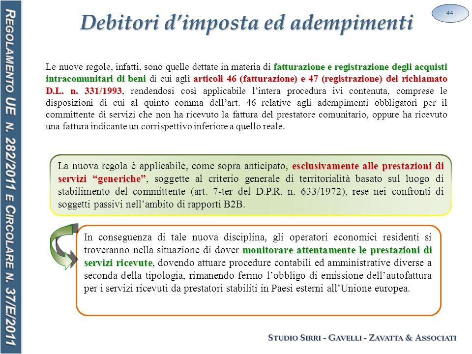 Debitori d'imposta ed adempimenti 44 fatturazione e registrazione degli acquisti intracomunitari di beni articoli 46 (fatturazione) e 47 (registrazione) del richiamato D.L.