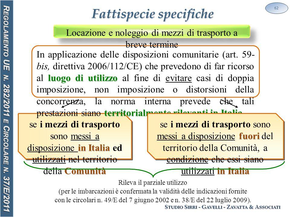 62 in Italia Comunità se i mezzi di trasporto sono messi a disposizione in Italia ed utilizzati nel territorio della Comunità luogo di utilizzo territorialmente rilevanti in Italia In applicazione delle disposizioni comunitarie (art.