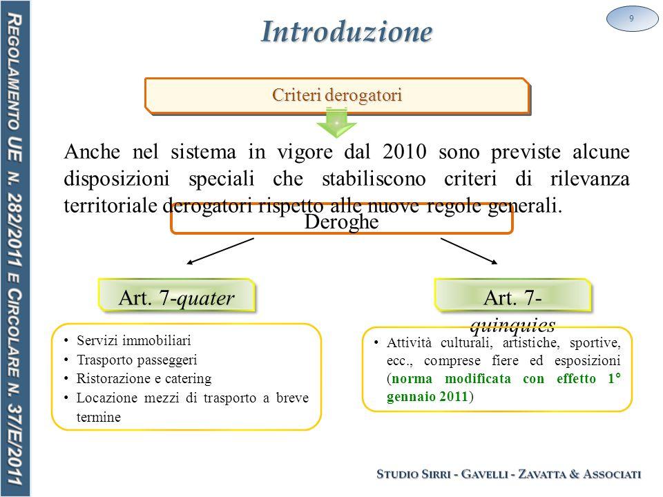 Introduzione 9 Deroghe Criteri derogatori Anche nel sistema in vigore dal 2010 sono previste alcune disposizioni speciali che stabiliscono criteri di rilevanza territoriale derogatori rispetto alle nuove regole generali.