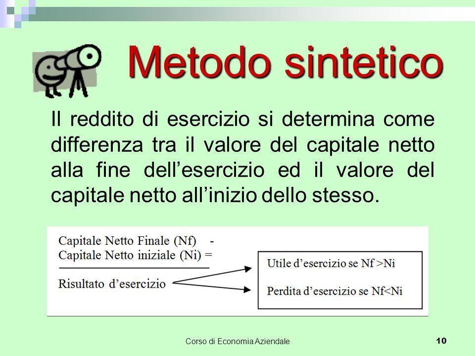 Corso di Economia Aziendale 10 Metodo sintetico Il reddito di esercizio si determina come differenza tra il valore del capitale netto alla fine dell'esercizio ed il valore del capitale netto all'inizio dello stesso.