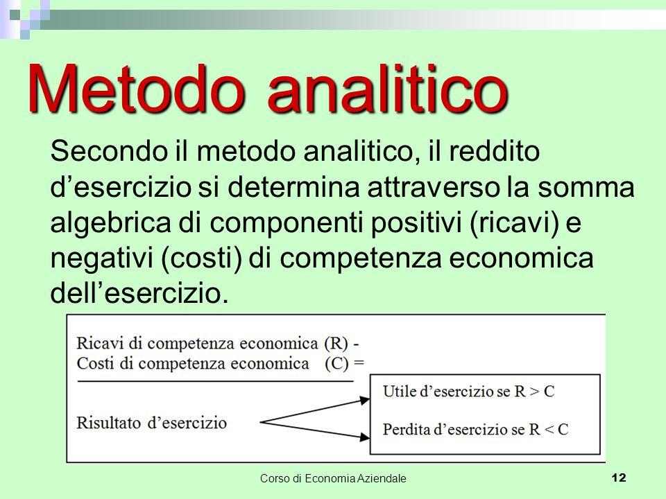 Corso di Economia Aziendale 12 Metodo analitico Secondo il metodo analitico, il reddito d'esercizio si determina attraverso la somma algebrica di componenti positivi (ricavi) e negativi (costi) di competenza economica dell'esercizio.