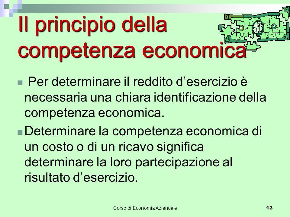 Corso di Economia Aziendale 13 Il principio della competenza economica Per determinare il reddito d'esercizio è necessaria una chiara identificazione della competenza economica.