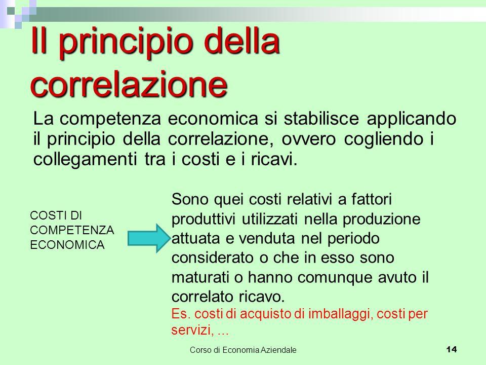 Corso di Economia Aziendale 14 Il principio della correlazione La competenza economica si stabilisce applicando il principio della correlazione, ovvero cogliendo i collegamenti tra i costi e i ricavi.