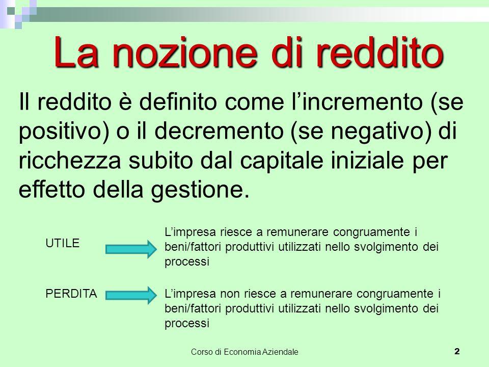 Corso di Economia Aziendale 2 La nozione di reddito Il reddito è definito come l'incremento (se positivo) o il decremento (se negativo) di ricchezza subito dal capitale iniziale per effetto della gestione.