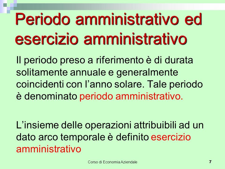 Periodo amministrativo ed esercizio amministrativo Il periodo preso a riferimento è di durata solitamente annuale e generalmente coincidenti con l'anno solare.
