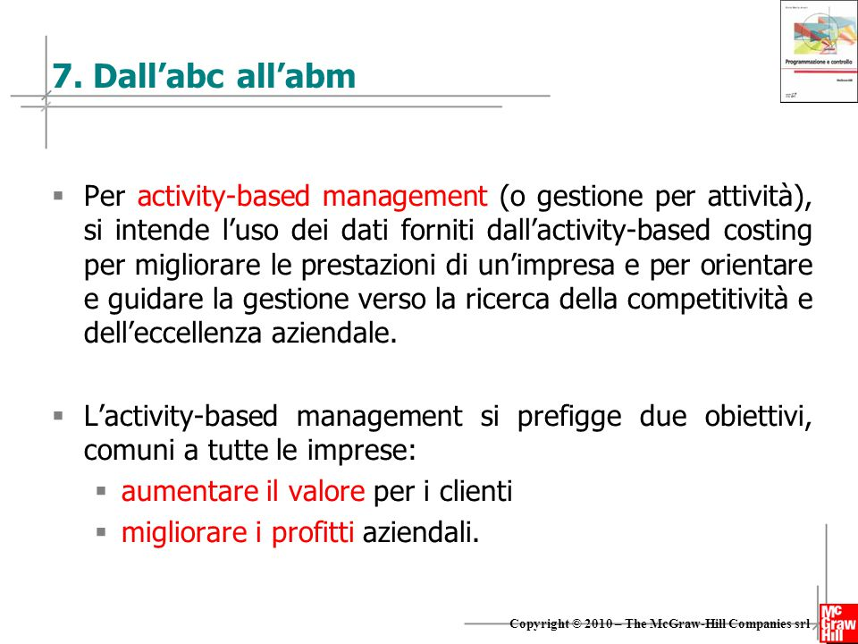 14 Copyright © 2010 – The McGraw-Hill Companies srl 7. Dall'abc all'abm  Per activity-based management (o gestione per attività), si intende l'uso de