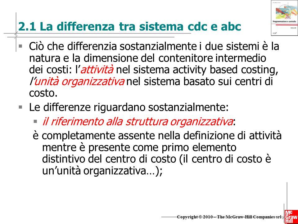 6 Copyright © 2010 – The McGraw-Hill Companies srl 2.1 La differenza tra sistema cdc e abc  Ciò che differenzia sostanzialmente i due sistemi è la na