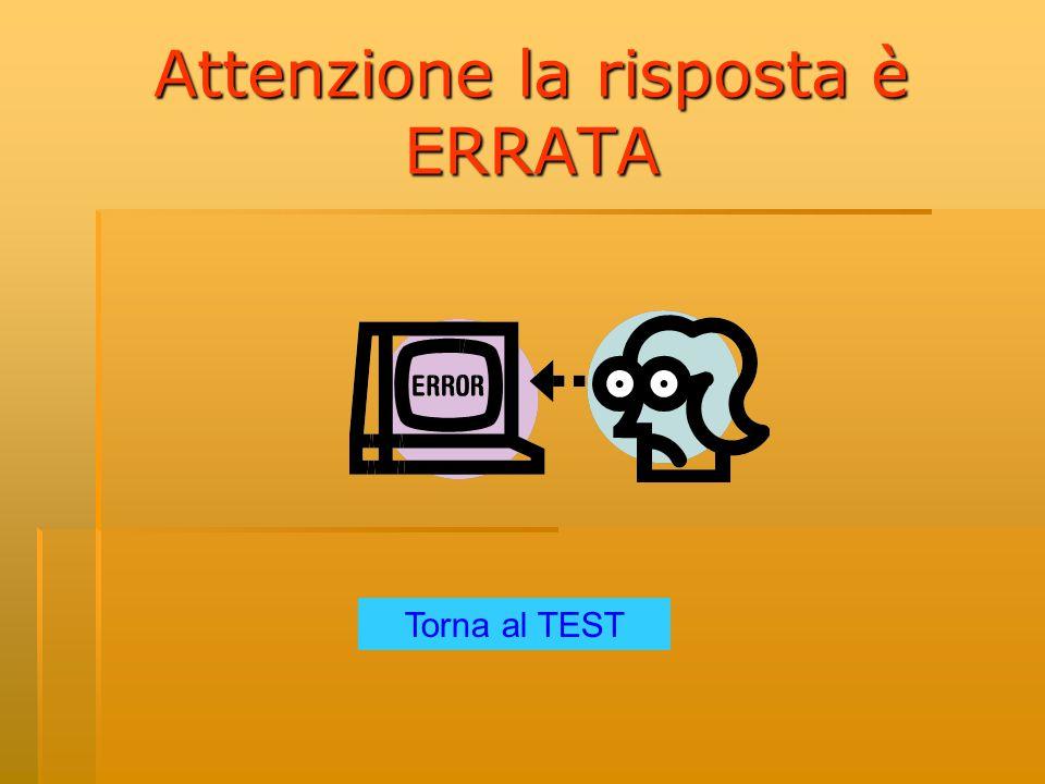 Attenzione la risposta è ERRATA Torna al TEST