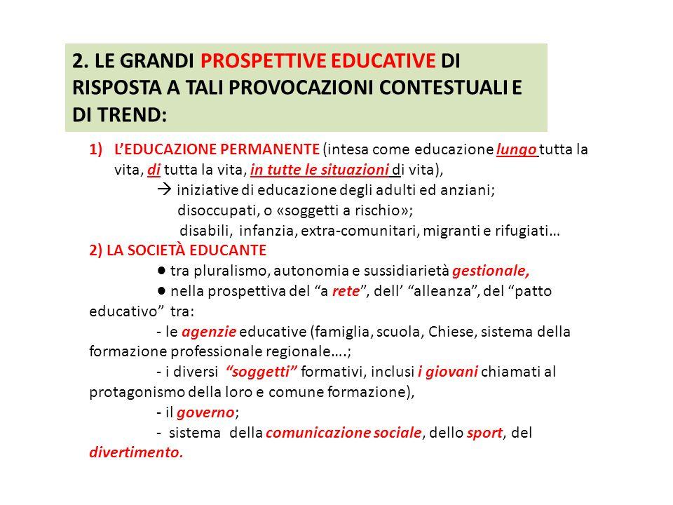 2. LE GRANDI PROSPETTIVE EDUCATIVE DI RISPOSTA A TALI PROVOCAZIONI CONTESTUALI E DI TREND: 1)L'EDUCAZIONE PERMANENTE (intesa come educazione lungo tut