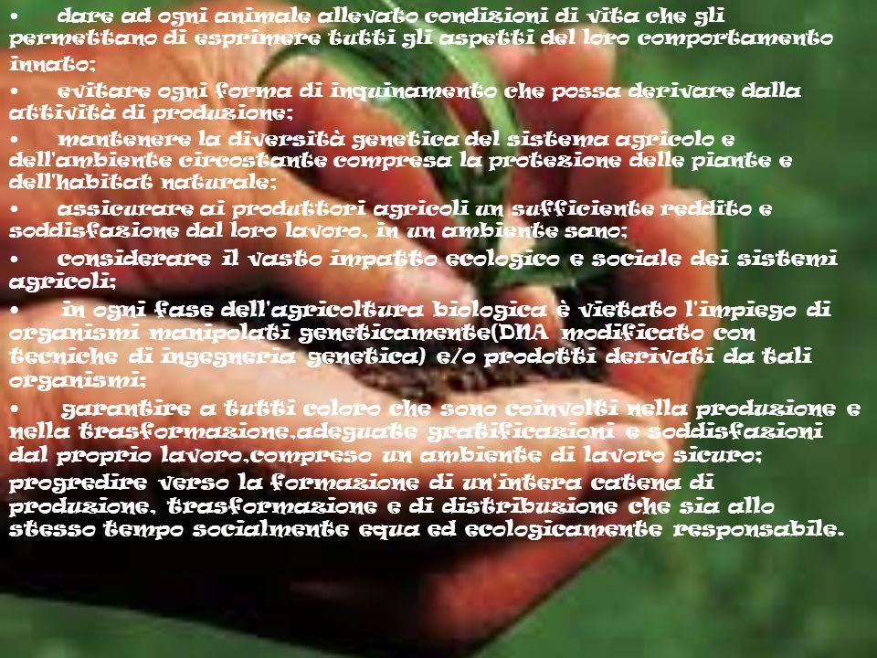 I PRINCIPI BASE I principi di base dell'agricoltura biologica sono: produrre cibo di alta qualità nutrizionale in quantità sufficiente; lavorare con i