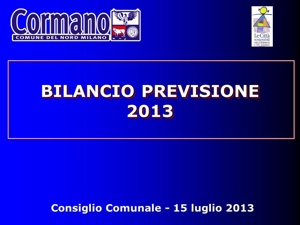 Consiglio Comunale - 15 luglio 2013 BILANCIO PREVISIONE 2013
