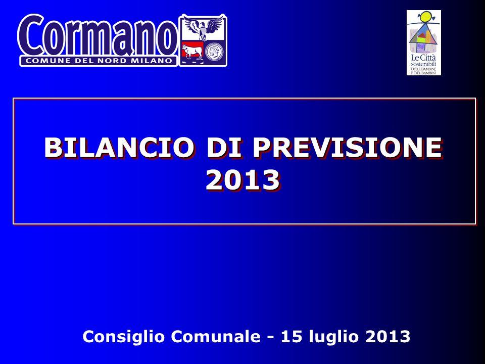 Consiglio Comunale - 15 luglio 2013 BILANCIO DI PREVISIONE 2013