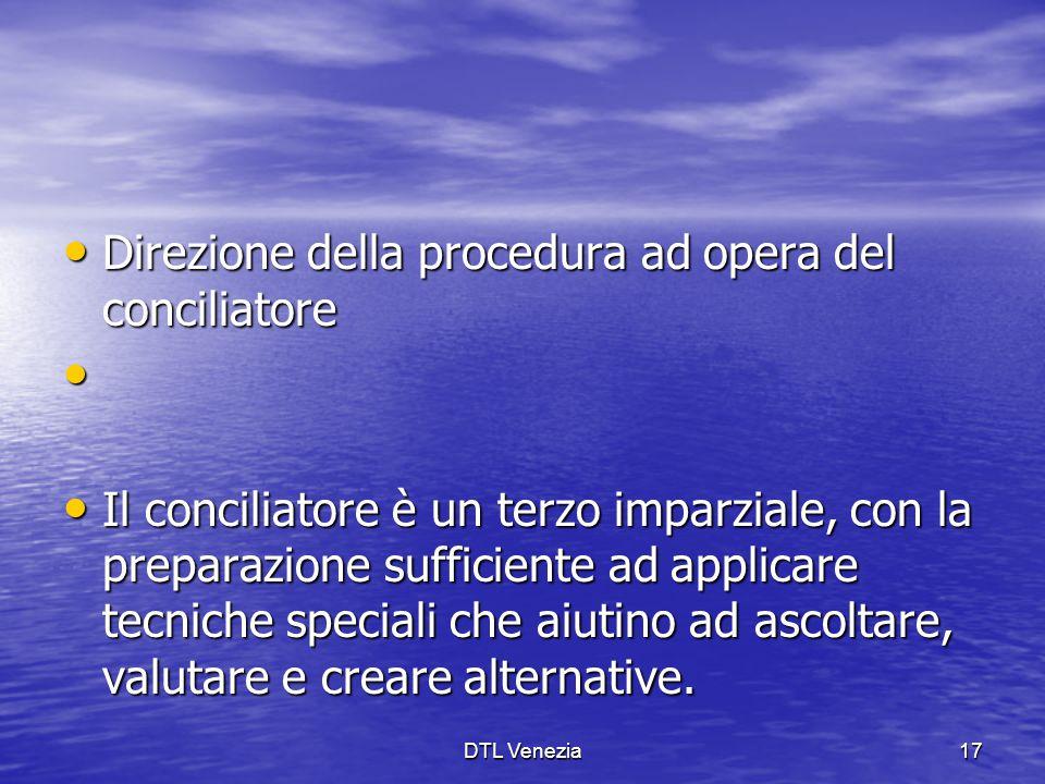 Direzione della procedura ad opera del conciliatore Direzione della procedura ad opera del conciliatore Il conciliatore è un terzo imparziale, con la