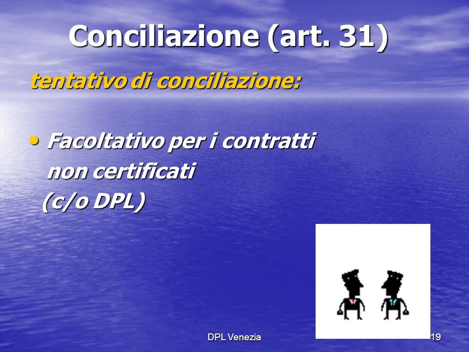 DPL Venezia19 Conciliazione (art. 31) tentativo di conciliazione: Facoltativo per i contratti Facoltativo per i contratti non certificati (c/o DPL) (c