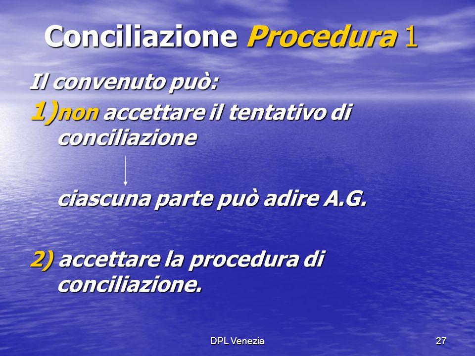 DPL Venezia27 Conciliazione Procedura 1 Il convenuto può: 1) non accettare il tentativo di conciliazione ciascuna parte può adire A.G. 2) accettare la