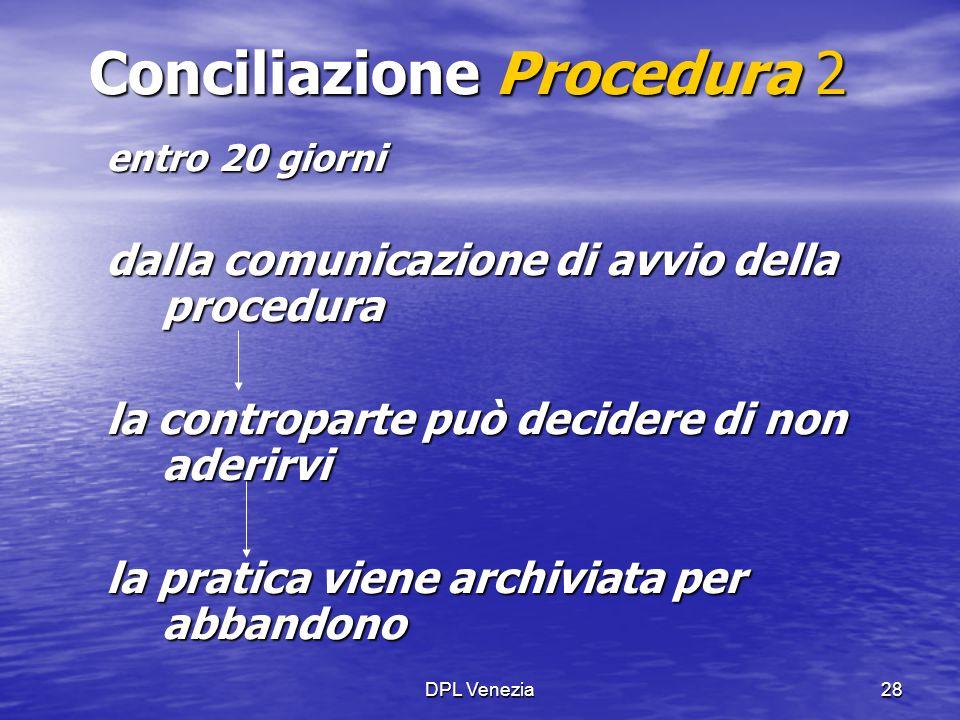 DPL Venezia28 Conciliazione Procedura 2 entro 20 giorni dalla comunicazione di avvio della procedura la controparte può decidere di non aderirvi la pr