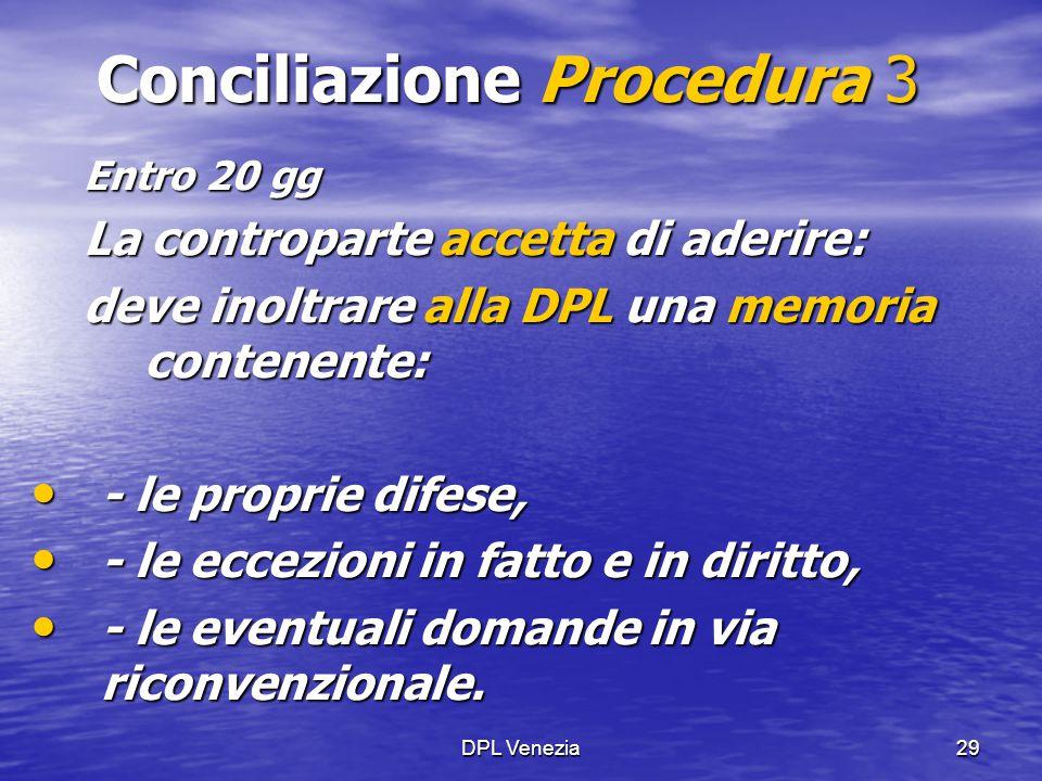 DPL Venezia29 Conciliazione Procedura 3 Entro 20 gg La controparte accetta di aderire: deve inoltrare alla DPL una memoria contenente: - le proprie di