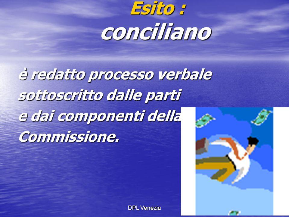 DPL Venezia31 Esito : conciliano Esito : conciliano è redatto processo verbale sottoscritto dalle parti e dai componenti della Commissione.