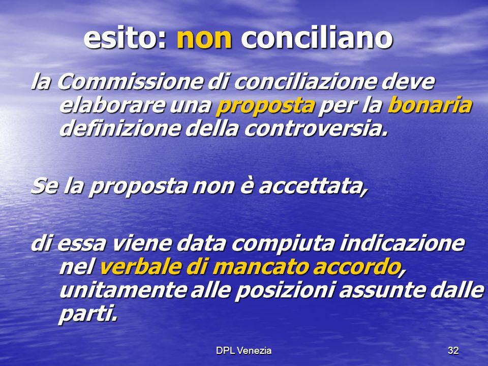 DPL Venezia32 esito: non conciliano la Commissione di conciliazione deve elaborare una proposta per la bonaria definizione della controversia. Se la p