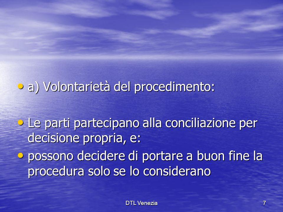 a) Volontarietà del procedimento: a) Volontarietà del procedimento: Le parti partecipano alla conciliazione per decisione propria, e: Le parti parteci
