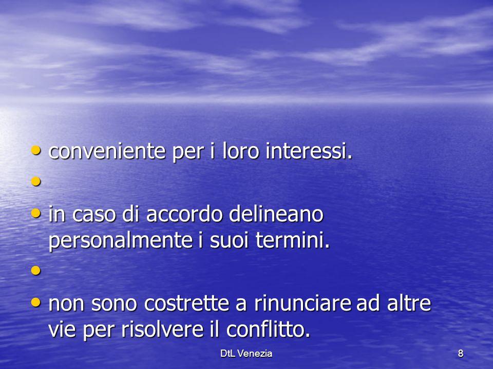 DPL Venezia29 Conciliazione Procedura 3 Entro 20 gg La controparte accetta di aderire: deve inoltrare alla DPL una memoria contenente: - le proprie difese, - le proprie difese, - le eccezioni in fatto e in diritto, - le eccezioni in fatto e in diritto, - le eventuali domande in via riconvenzionale.