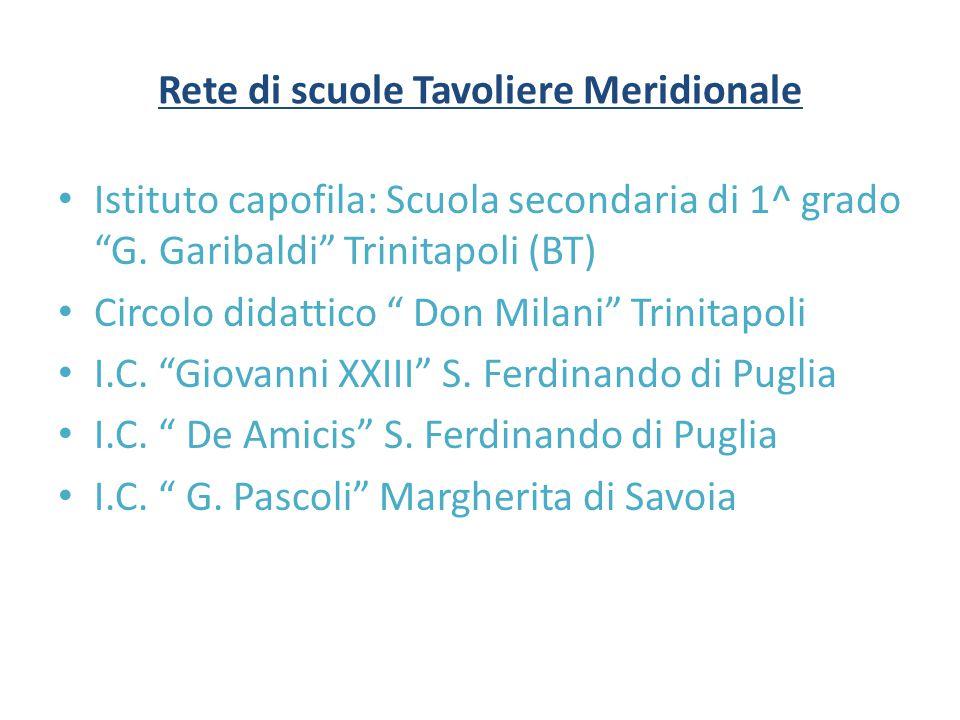 """Rete di scuole Tavoliere Meridionale Istituto capofila: Scuola secondaria di 1^ grado """"G. Garibaldi"""" Trinitapoli (BT) Circolo didattico """" Don Milani"""""""