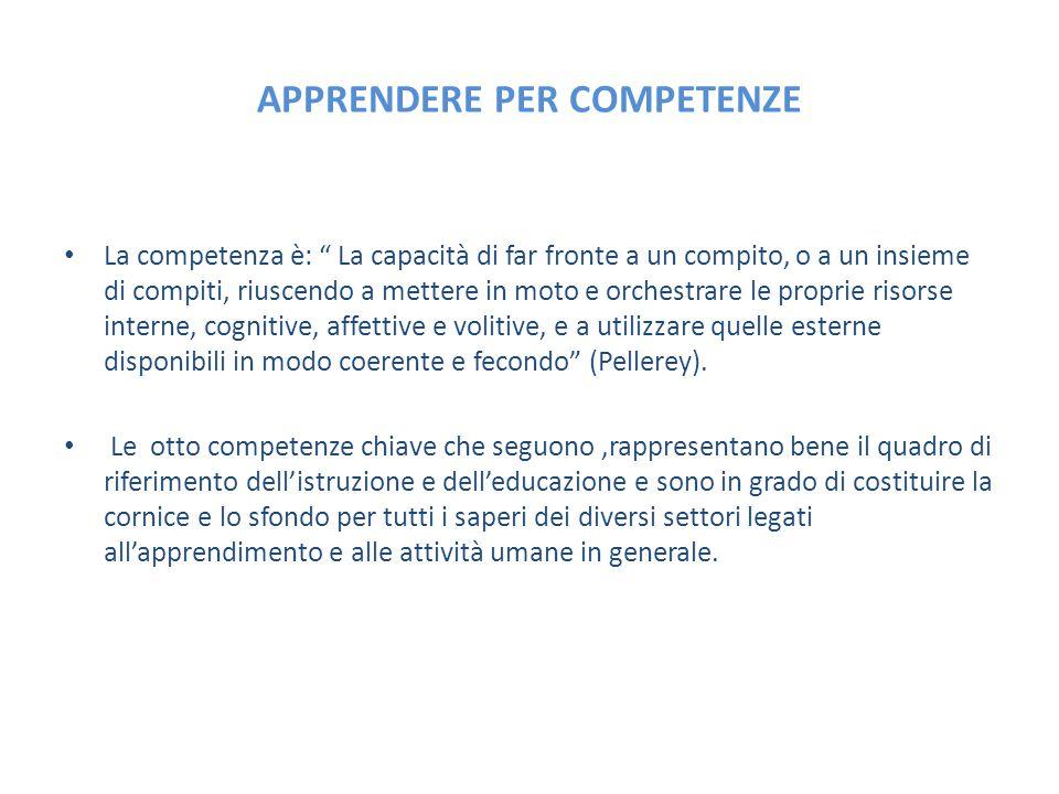 """APPRENDERE PER COMPETENZE La competenza è: """" La capacità di far fronte a un compito, o a un insieme di compiti, riuscendo a mettere in moto e orchestr"""