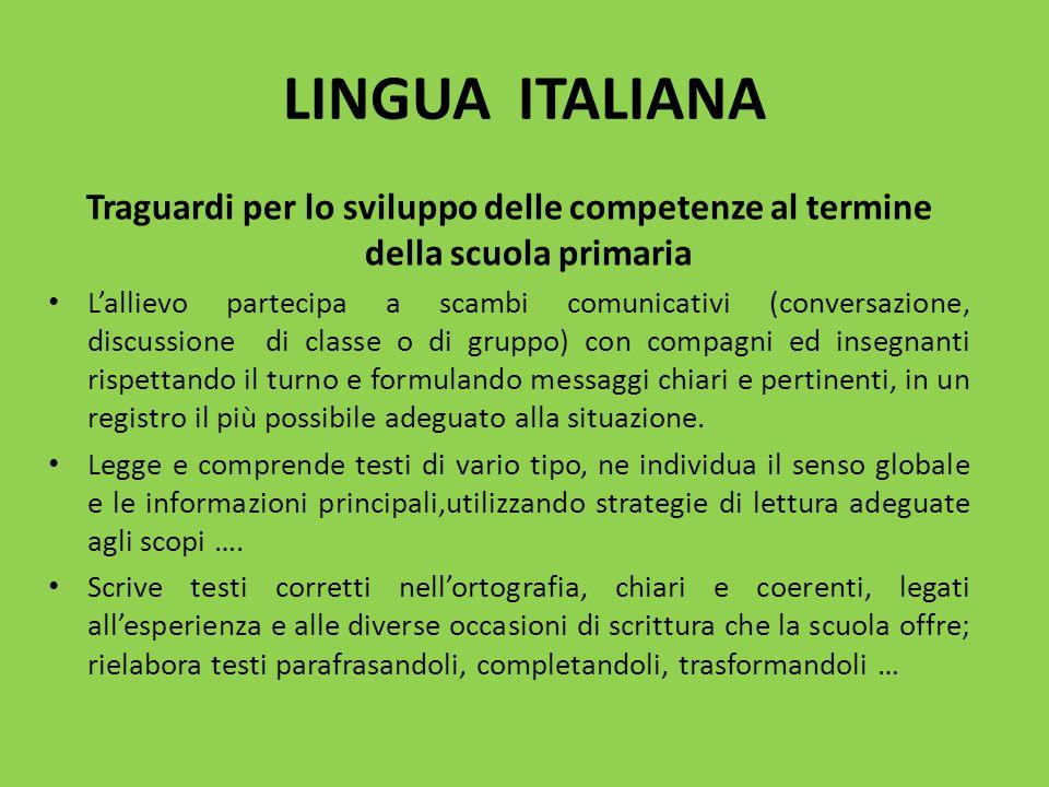 LINGUA ITALIANA Traguardi per lo sviluppo delle competenze al termine della scuola primaria L'allievo partecipa a scambi comunicativi (conversazione,