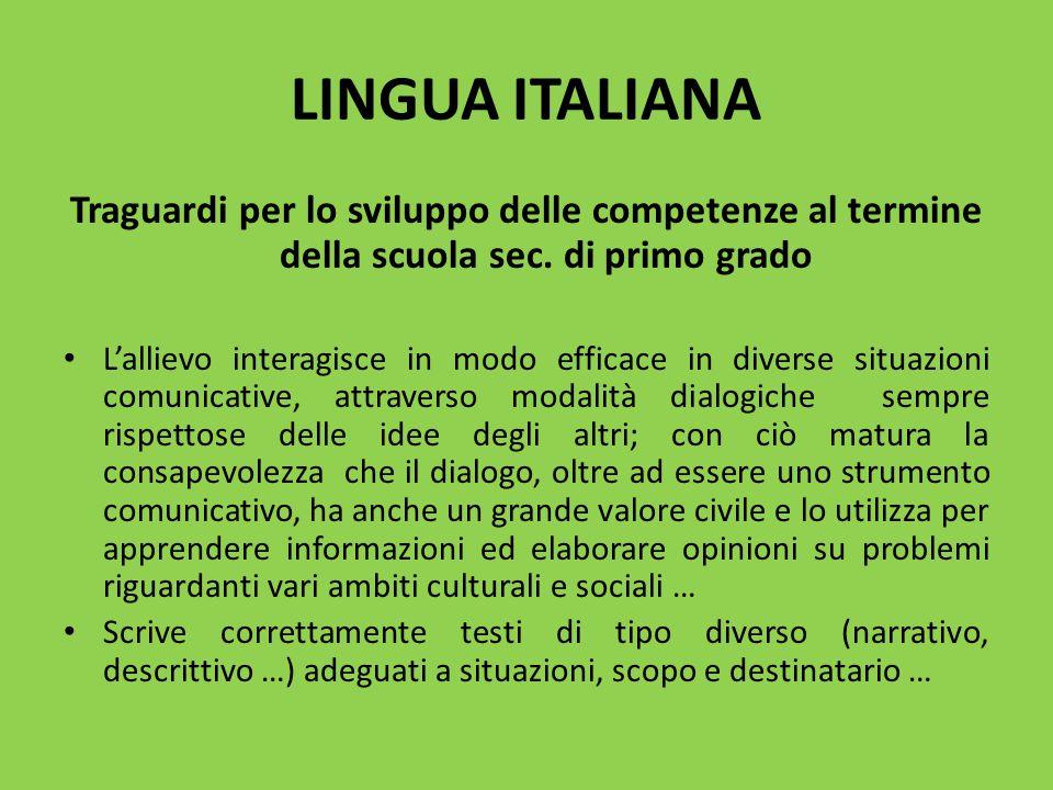 LINGUA ITALIANA Traguardi per lo sviluppo delle competenze al termine della scuola sec. di primo grado L'allievo interagisce in modo efficace in diver
