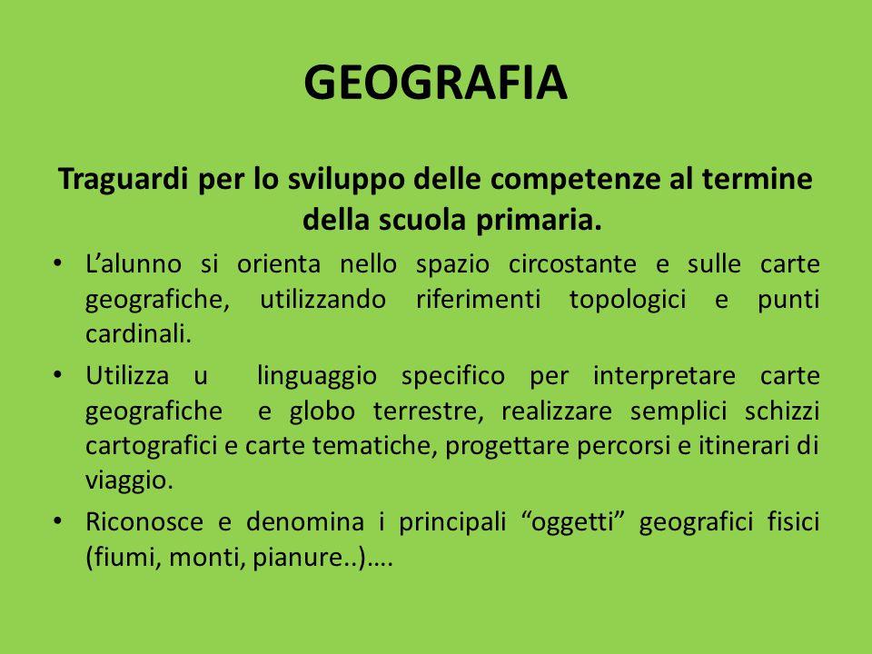 GEOGRAFIA Traguardi per lo sviluppo delle competenze al termine della scuola primaria. L'alunno si orienta nello spazio circostante e sulle carte geog