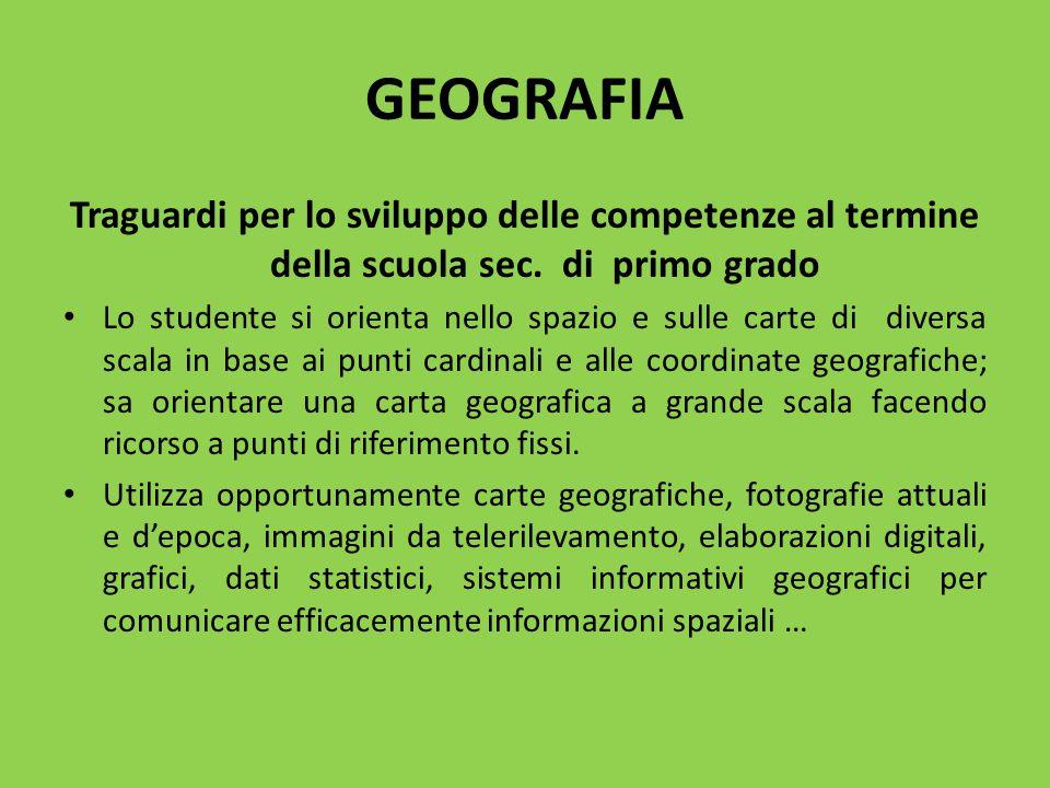 GEOGRAFIA Traguardi per lo sviluppo delle competenze al termine della scuola sec. di primo grado Lo studente si orienta nello spazio e sulle carte di