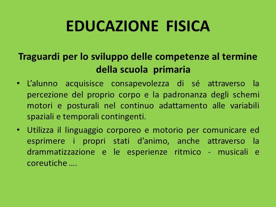 EDUCAZIONE FISICA Traguardi per lo sviluppo delle competenze al termine della scuola primaria L'alunno acquisisce consapevolezza di sé attraverso la p