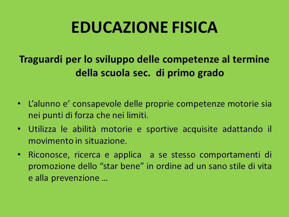 EDUCAZIONE FISICA Traguardi per lo sviluppo delle competenze al termine della scuola sec. di primo grado L'alunno e' consapevole delle proprie compete